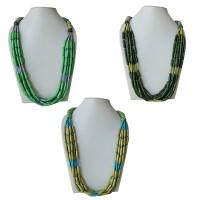 Cylinder shape beads bone necklace