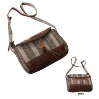 Hemp-cotton leather shoulder bag