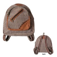 Stripy hemp-leather day bag