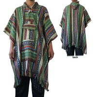 Brushed Gheri colourful long poncho