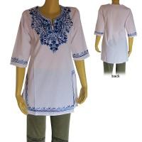 Embroidered cotton white kurtha top2