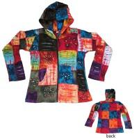 Razor cut patch-work rib hoodie