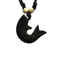 Fish carved bone pendent2