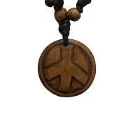 Peace sign carved bone pendent