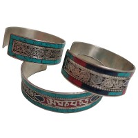 Colorful filigree mantra bangle