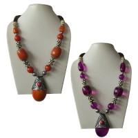 Multi size amber-bone beads necklace