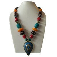 Colorful beads necklace with decorated pendent