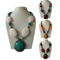 Assorted amber beads necklace with pendent