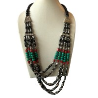 Small Dzi pattern bone beads Tibetan necklace