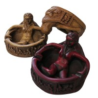 Embossed arts butter or red color ashtray