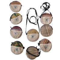 6 inch round hemp-cotton purse