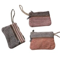 3-zipper hemp-cotton purse