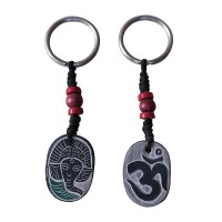 Ganesh and Om carved stone key ring