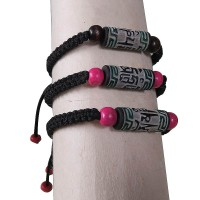 Om Mani Mantra carved stone wrist