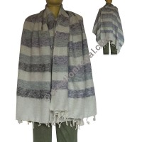 Grey-purple stripes shawl
