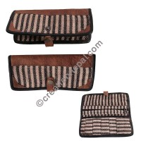 Leather-hemp cotton wallet purse