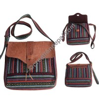 Leather-cotton large shoulder bag