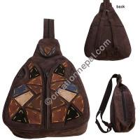 Leather suede rucksack bag