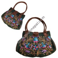 Floral embroidered leather suede bag