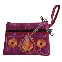 Leather suede 3-zipper purse