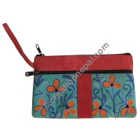Front patch leather suede floral purse