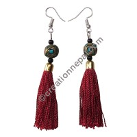 Decorated bead burgundy yarn earring