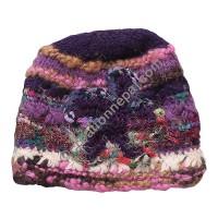 Wool-silk purple star cap