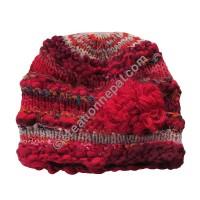 Wool-silk red color flower cap