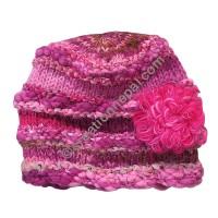 Wool-silk pink color flower cap