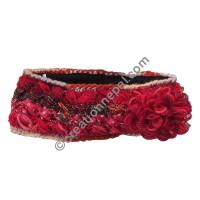 Silk-wool flower red headband