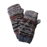 Wool and silk Grey tube gloves
