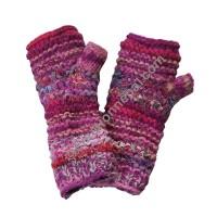 Wool and silk Pink tube gloves