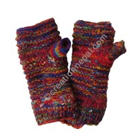 Wool silk colorful red tube gloves