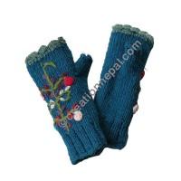 Woolen flower Blue tube gloves