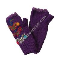 Woolen flower Purple tube gloves