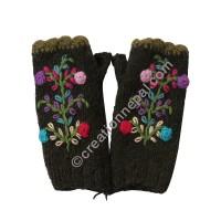Woolen flower Dark Green tube gloves