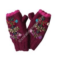 Woolen flower Dark-pink tube gloves