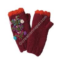 Woolen flower Dark-red tube gloves
