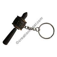 Wooden prayer wheel keyring