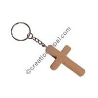 Wooden Cross keyring