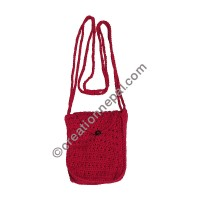 Cotton crochet small red bag