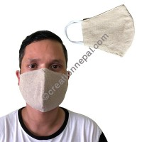 Hemp cotton V-shape natural white mask