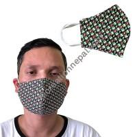 Printed soft cotton 2 layer V-shape mask