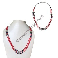Coral tiny beads necklace