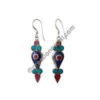 Three color stone chips earring2
