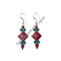 Turquoise coral earring3