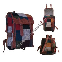 Leather cotton patch work backpack