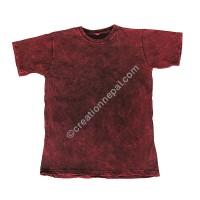 Maroon stone wash stretchy cotton T-shirt