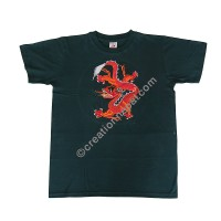 Dragon embroidery cotton T-shirt