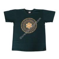 Mantra mandala print stretchy cotton T-shirt